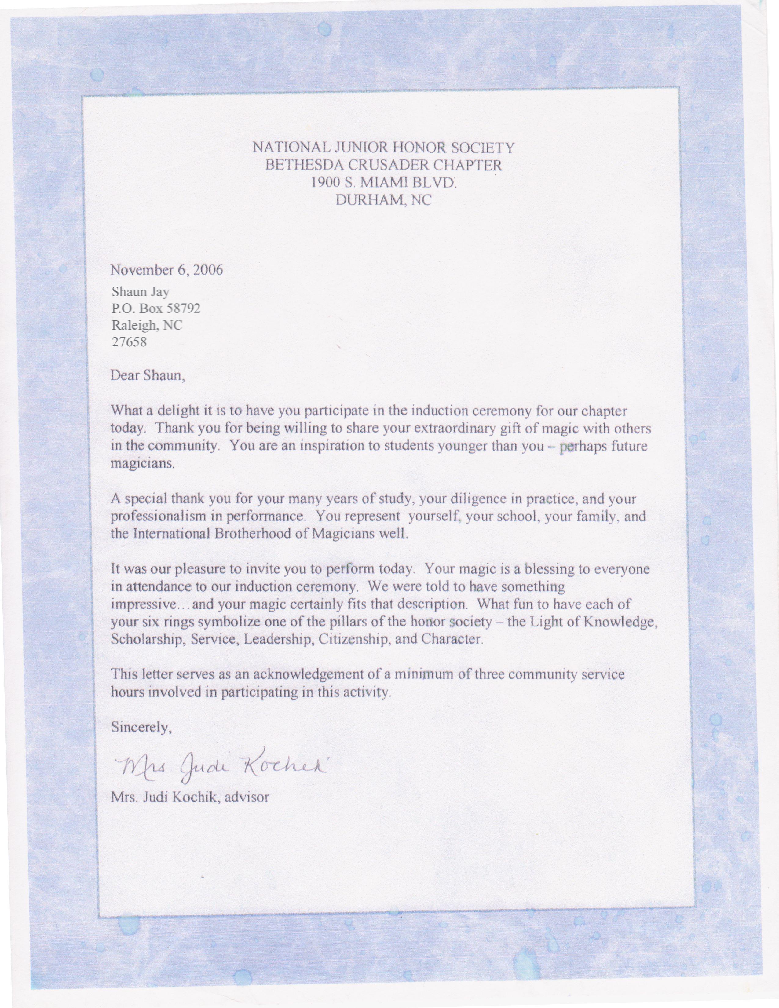 National Honors Society Shaun Jay